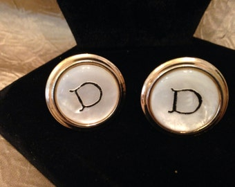 Mother Of Pearl Initial D CUFFLINKS