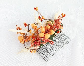 Fall Wedding Comb, Rustic Head Piece, Woodland Hair Comb, Bridal Hair Comb, Orange Floral Comb, Rustic Bridal Comb, Fall Flower Comb