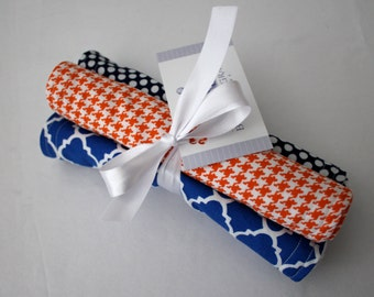 Cobalt Blue Lattice, Orange and White Houndstooth, Navy and White Polka Dots Burp Pads - Cloths - Cotton and Soft Chenille - Shower Gift