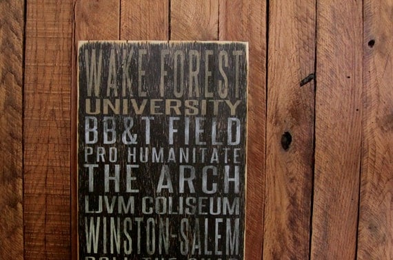 Wake Forest University Demon Deacons Distressed Wood Sign-Great Father's Day Gift!