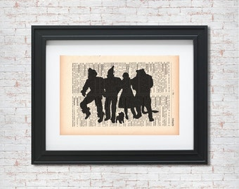Wizard of oz silhouette Dictionary art print - Upcycled dictionary art - Book print page art #086