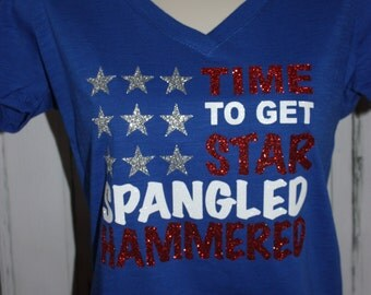 Women's Star Spangled Hammered, 4th of July TShirt, 4th of July Glitter Shirt