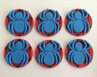 1 Dozen Fondant Spiderman Cupcake Toppers