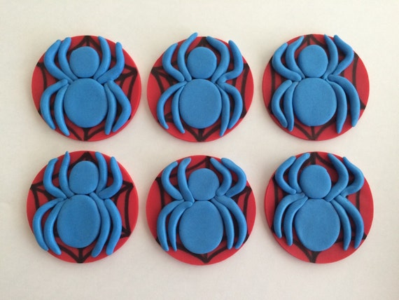 Fondant spiderman cupcake toppers - photo#5