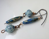 BACK2SCHOOL SALE: Turquoise blue long dangle earrings, artisan-made pottery beads, blue agate stones with copper and sterling silver