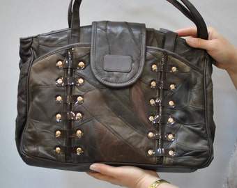 Vintage LEATHER BAG...(081)