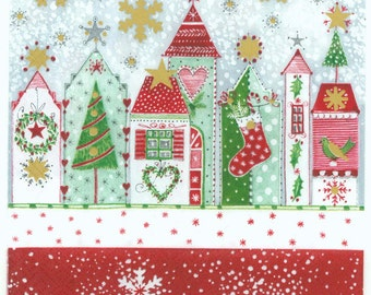 4 Christmas Napkins | Snowy Christmas Homes | Winter Napkins | Holiday Napkins |Decoupage Napkins| Paper Napkins for Decoupage