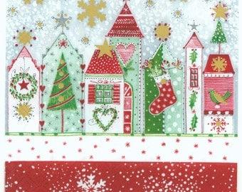 4 Christmas Napkins   Snowy Christmas Homes   Winter Napkins   Holiday Napkins  Decoupage Napkins  Paper Napkins for Decoupage