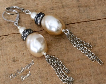 Vintage Bridal Rhinestone and Baroque Glass Pearl Tassel Assemblage Earrings by The Salvaged Bead