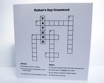 Father's Day Card Crossword - Cryptic Crossword - Crossword Puzzle - Paper Handmade Greeting Card - Card for Dad