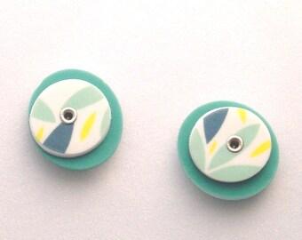 Leaf Stud Earrings / Riveted Stud Earrings / 016