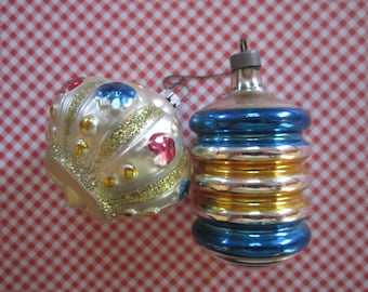 Vintage Blown Glass Ornament Christmas Tree Decor Blue White Lot