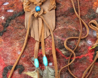 leather medicine bag necklace with feathers
