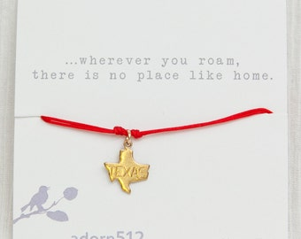 Gold State Charm Bracelet, State Charm Bracelet, - Brass State Charm - Gifts for Friend - Gift Cards