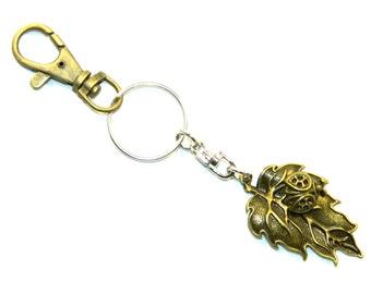 D-0183 - Ladybird on Leaf Keyring / Charm - Handmade