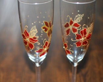 Periwinkle champagne flutes with swarvoski crystals!