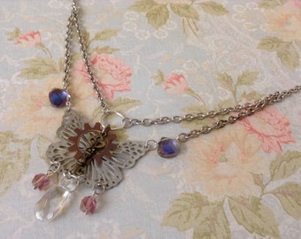 Butterfly and key crystal necklace