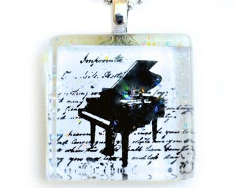 The Piano -- Glass Tile Pendant Necklace Jewelry Wearable Art