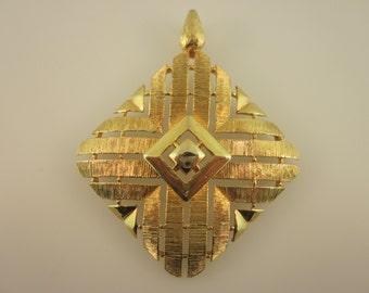 Gold Tone Modernist Square Pendant