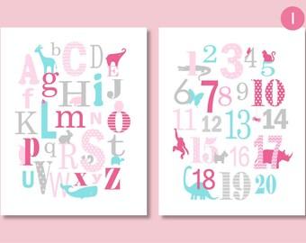 ABC 123 Nursery, Alphabet Nursery, Baby Girl Nursery, Animal Alphabet, Playroom Art, Animal Nursery, Pink Grey Decor, New Baby Gift