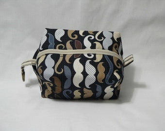 Mustache Barber Boxy Knitting or Crochet Project Bag, Cosmetic Pouch, Ditty bag, Makeup Toiletry Bag, Diaper bag pouch, Pet Supplies