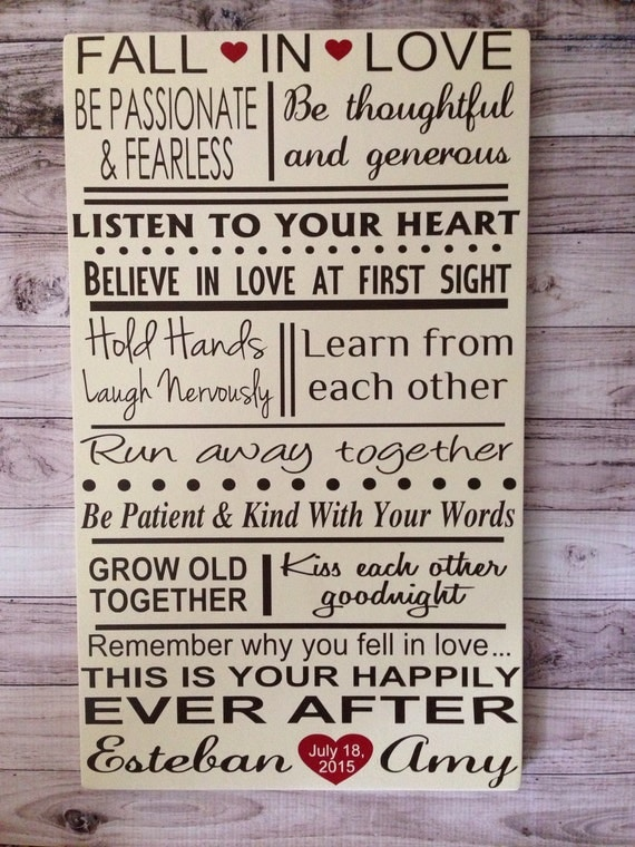 Wedding Gift Rules : Marriage Rules Gift Fall In Love Rules Personalized Gift Wood