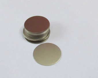 "1"" Nickel Silver round blanks//alternative to silver//hand stamping blanks//jewelry supplies//hand stamping supplies"