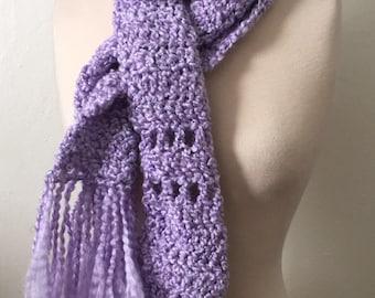 Crochet scarf super cozy soft homespun acrylic yarn lavendar purple