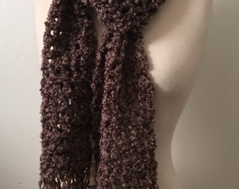 Crochet scarf super long soft boucle acrylic/poly yarn shades of brown