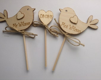 Personalised Wedding Cake Topper - Bird Cake Topper - Rustic Cake Topper,  Rustic Weddin