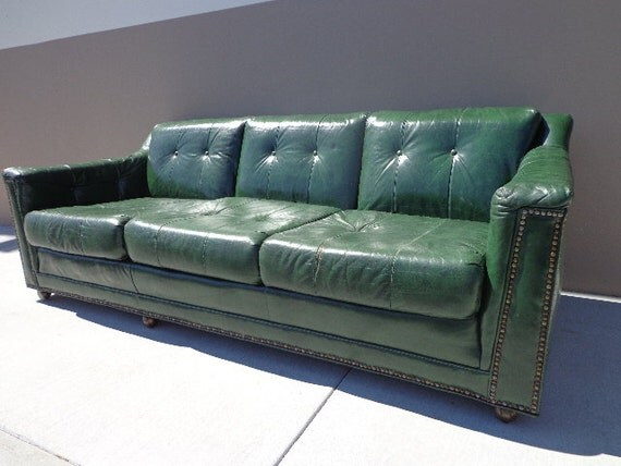 Vintage Green Leather Sofa Couch Brass Tacks Hancock Moore