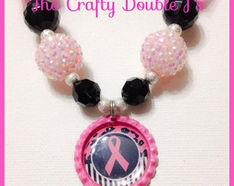 Breast Cancer Awareness Chubky Bead Necklace, Gumball necklace, Bubblegum necklace