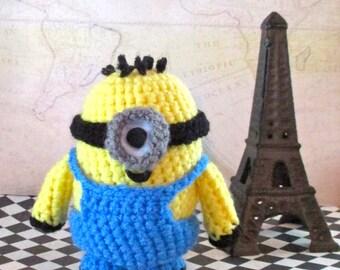 Crochet Minion Carl Stuffed One-Eye with Buzz-Cut
