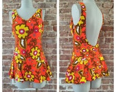1950s Bold Orange Floral Playsuit Swimsuit - Bathing Suit - Bombshell - VLV - Pool Party