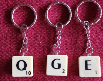 Scrabble Tile Key Ring, You Choose The Letter, Personalise