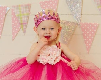 Pretty Pinks Fluffy Princess/Birthday Dress- Ribbon straps