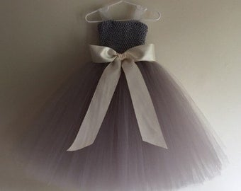Silver Gray Tulle Flower Girl dress with sewn ribbon straps- Silver / Gray / Grey
