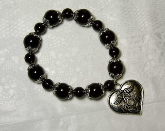 "Cynthia Lynn ""LOVE YOU MOM"" Tibet Silver Black Onyx Beaded Stretch Bracelet (Earrings available)"