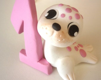 First Birthday cake topper - seal cake topper handmade with polymer clay - baby shower gift