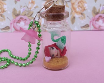 Mermaid necklace bottle with polymer clay, polymer clay
