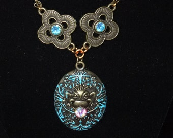 Blue Jeweled Frog Prince Necklace - Great Gift for Book Lovers!