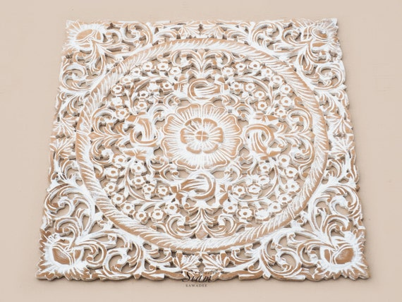 White Wash Wood Carving Wall Art Panel. Wall Hanging. Lotus Wood Carved Plaque Decor