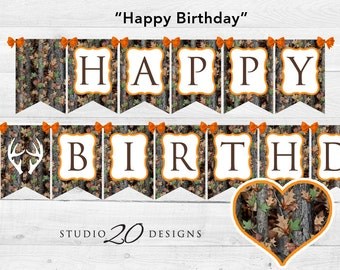Instant Download Camo Happy Birthday Banner, Hunter Orange Camo Happy Birthday Bunting Banner, Realistic Camouflage Birthday Banner 31E