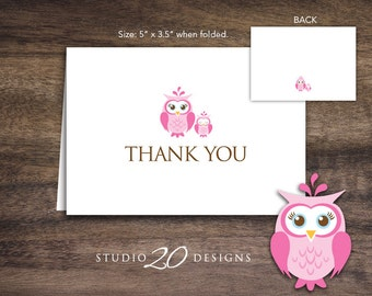 Instant Download Pink Owl Thank You Card, Folded Pink Brown Owl Baby Shower Thank You Card for Girl Folded Owl Birthday Thank You Card 23F
