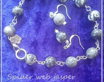 Spider web jasper bracelet & earring set