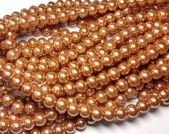 Golden Sand round glass pearls - 8mm