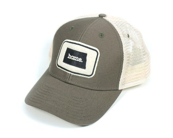 North Dakota Home State Apparel Hat: Ouray Soft Mesh Cap in Olive Green