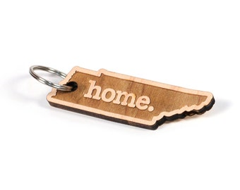 Tennessee Key Charm by Home State Apparel: Laser Engraved Wood Keychain, TN