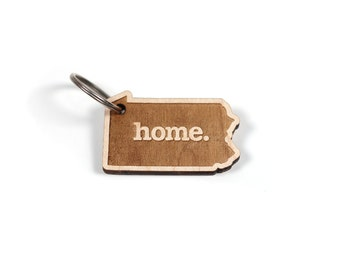 Pennsylvania Key Charm by Home State Apparel: Laser Engraved Wood Keychain, PA