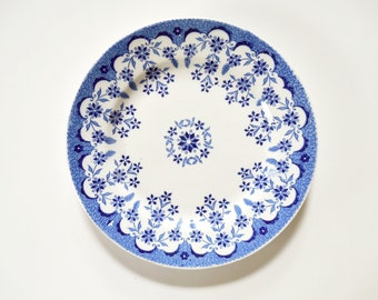 Antique French Faience Plate ~Sarreguemines~ Blue German Loraine Trademark ~ Blue & White Floral Transferware Plate c1894-1919